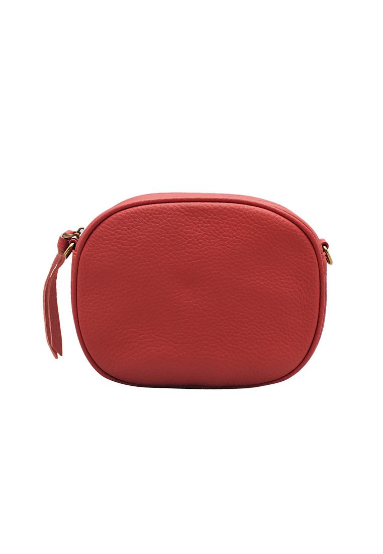 Túi đeo chéo nữ ELMI da bò thật cao cấp màu đỏ EB297