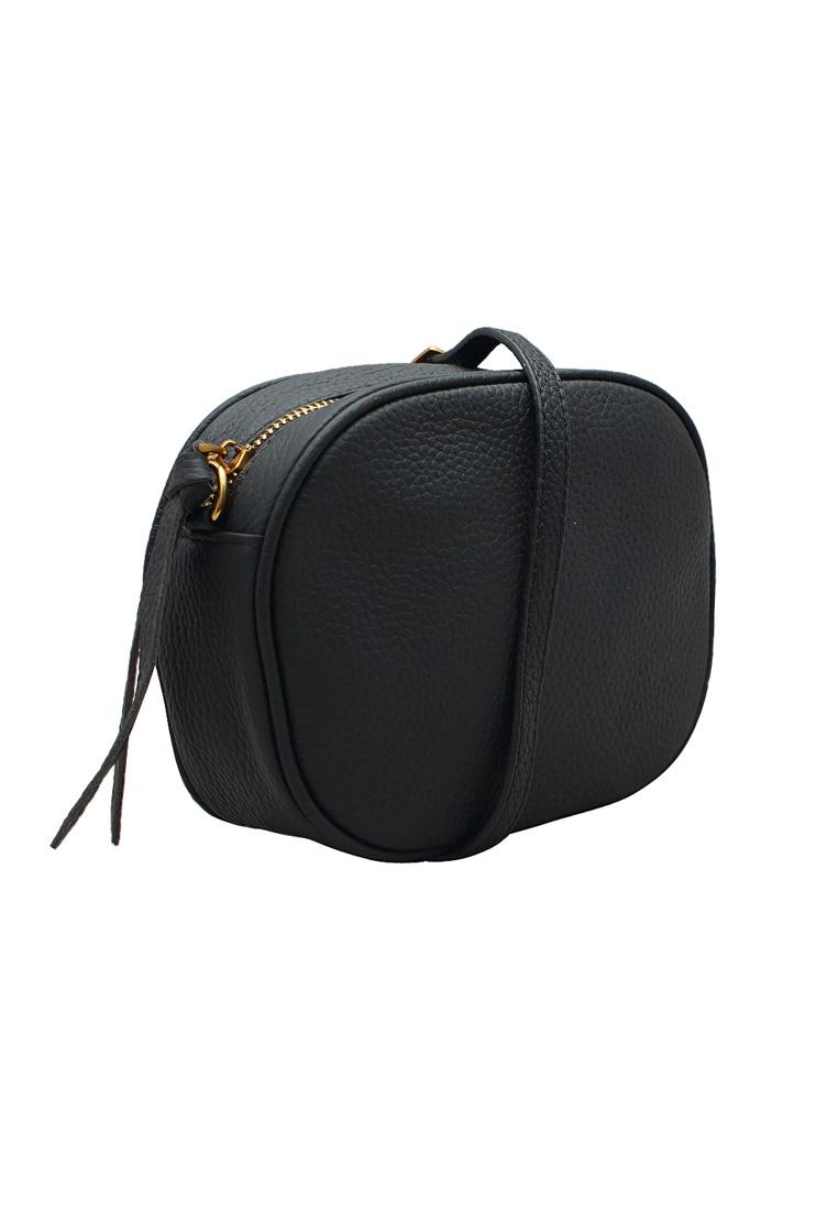 Túi đeo chéo nữ ELMI da bò thật cao cấp màu đen EB298