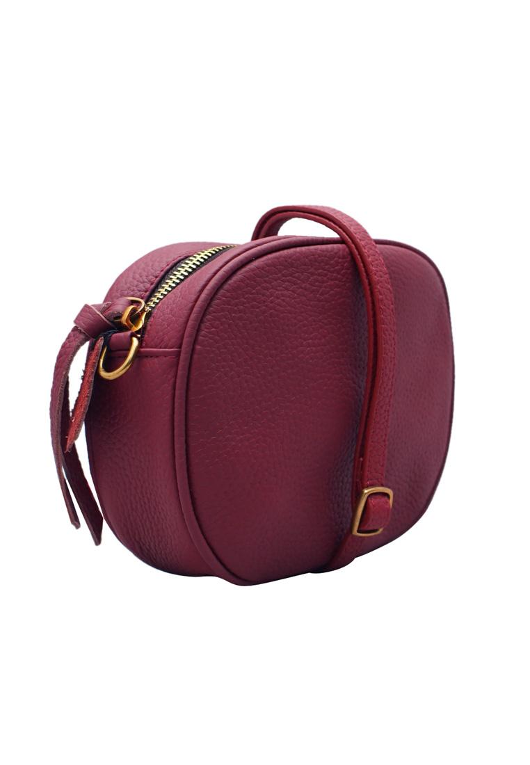 Túi  chéo nữ ELMI da bò thật cao cấp màu đỏ đô EB299