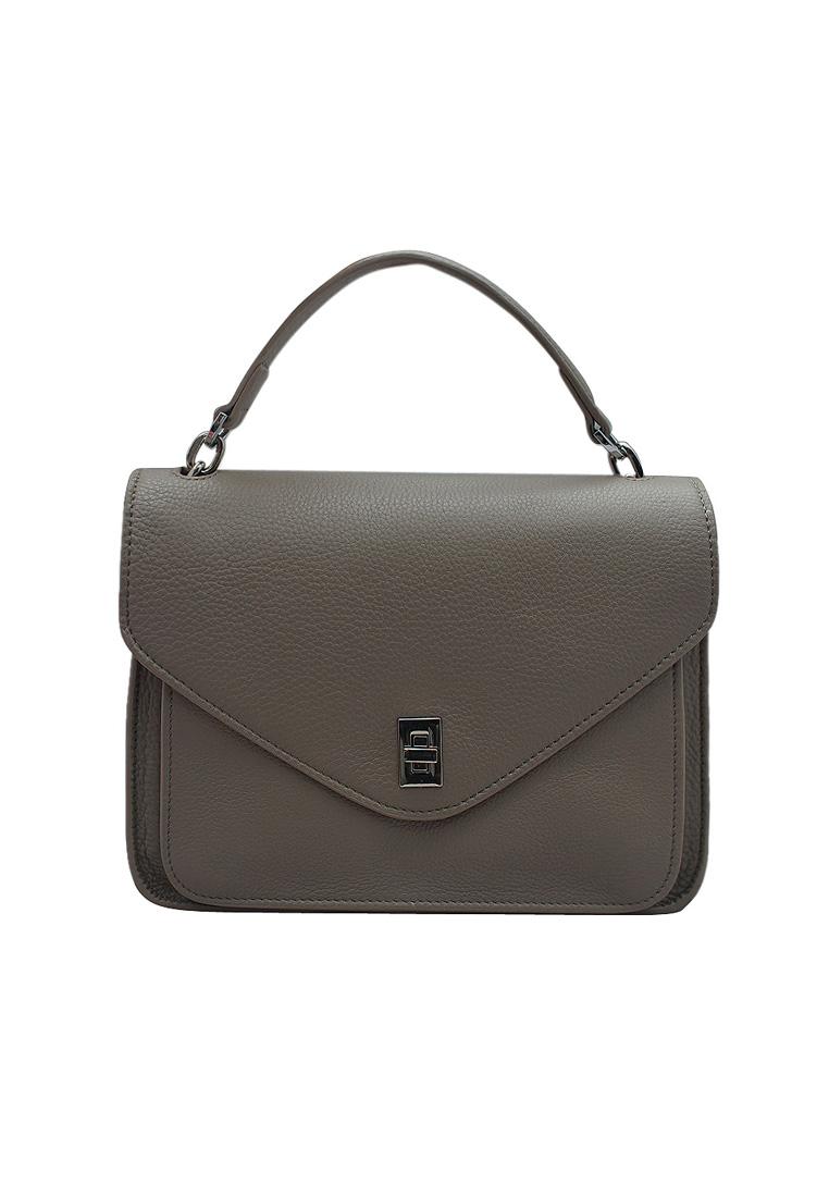 Túi xách nữ ELMI da bò thật cao cấp màu ghi EB301