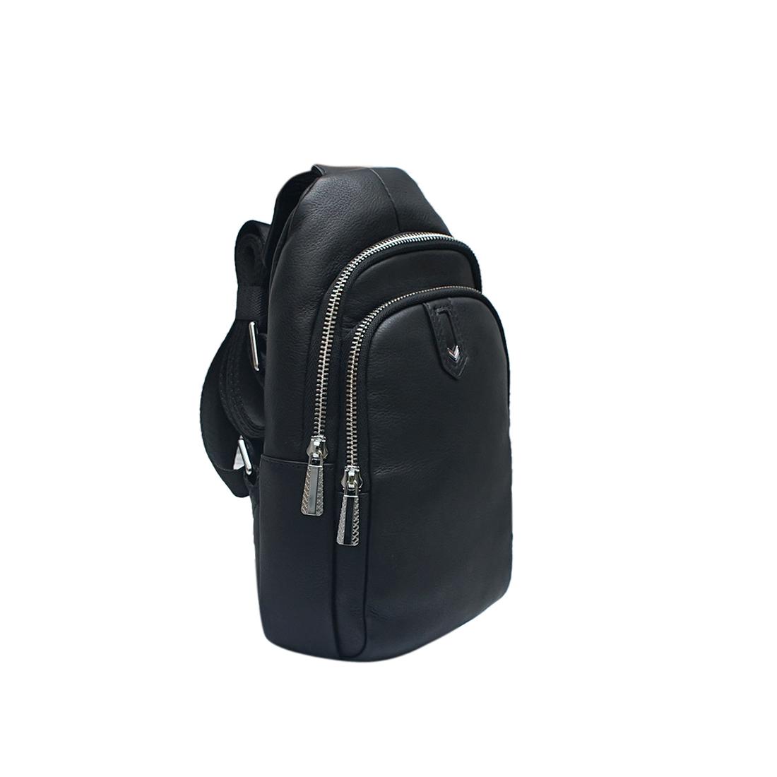 Túi đeo vai nam da bò thật cao cấp màu đen EB303