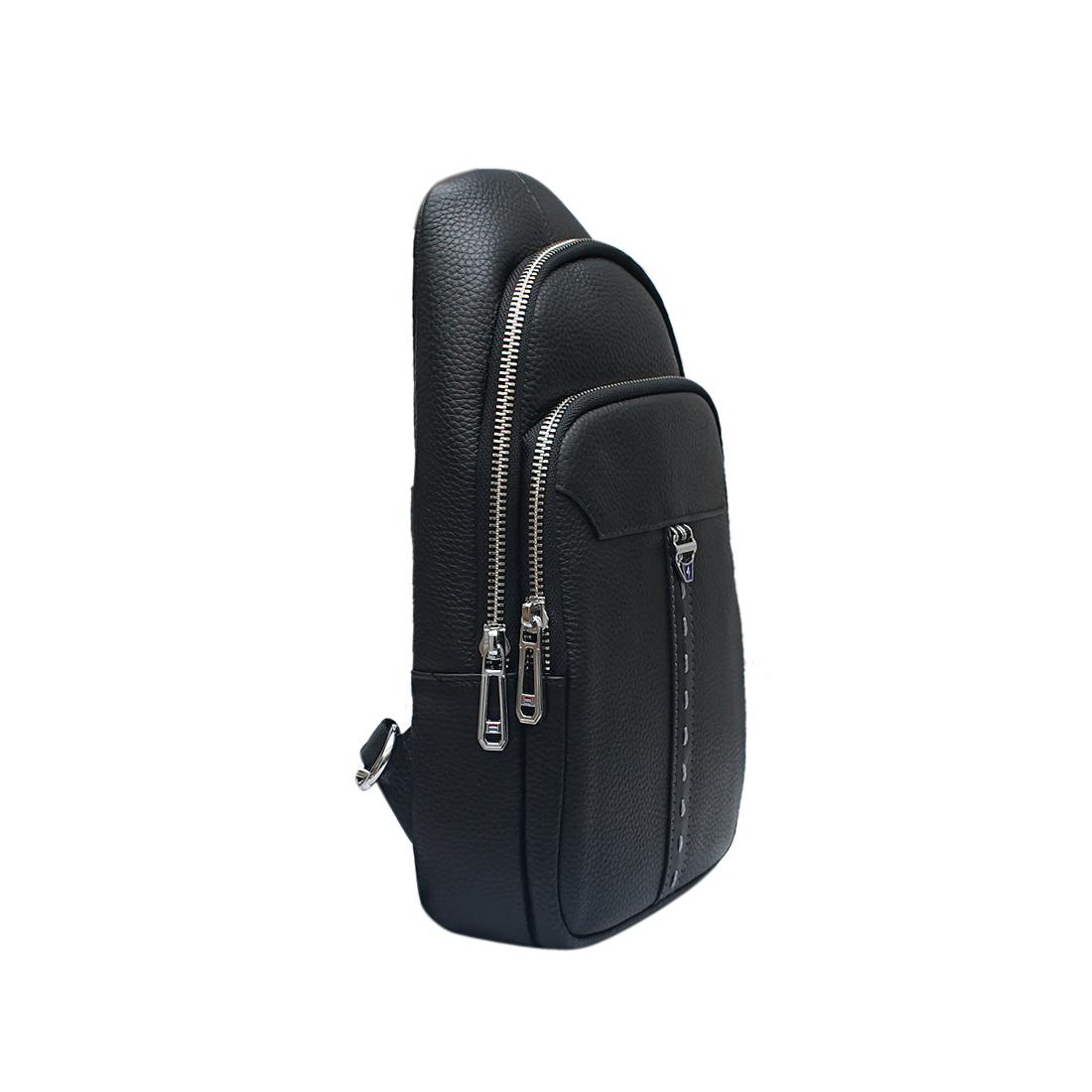 Túi đeo vai nam ELMI da bò thật cao cấp màu đen EB306