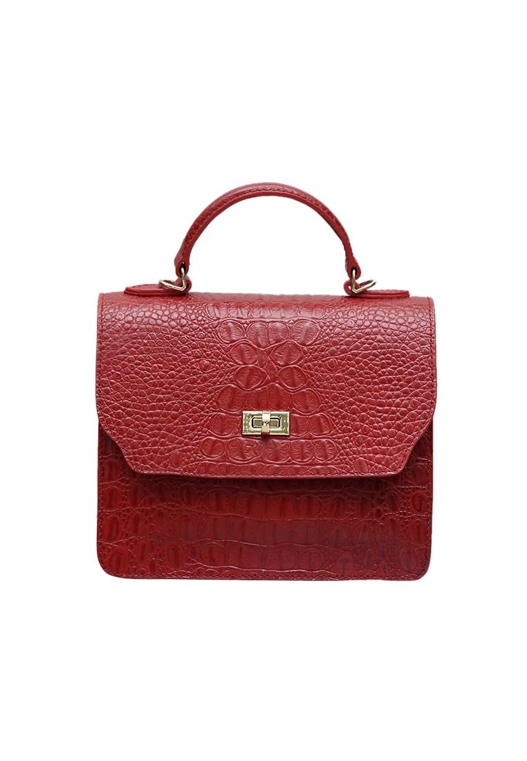 Túi xách ELMI da bò thật cao cấp màu đỏ EB308