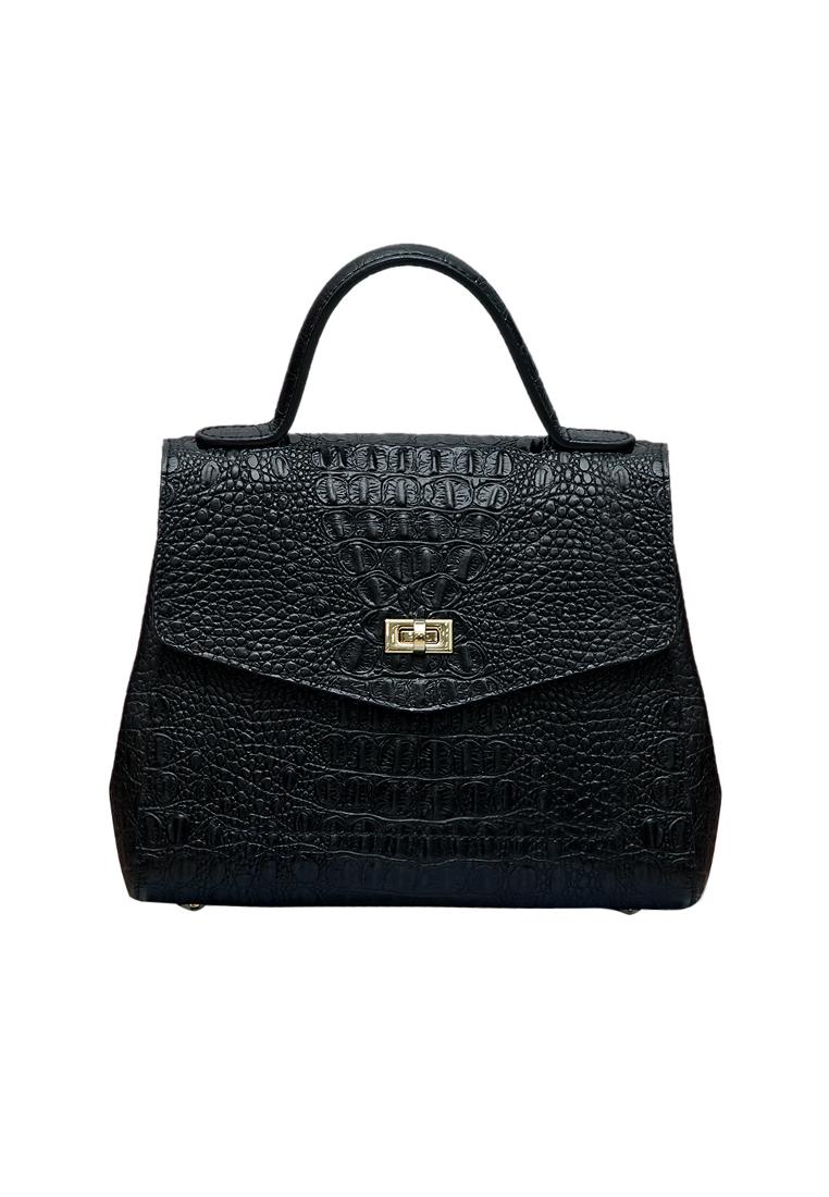 Túi xách tay nữ ELMI da bò thật cao cấp màu đen EB311