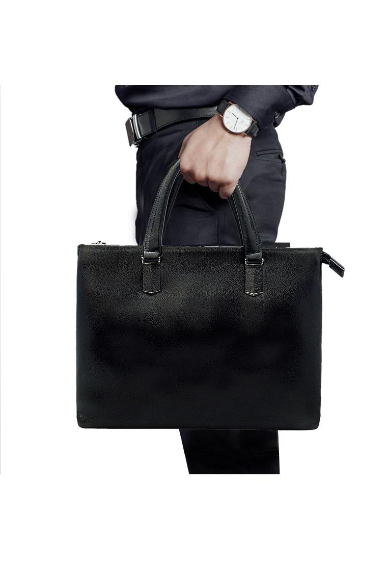 Túi xách tay nam ELMI da bò thật cao cấp màu đen EB312