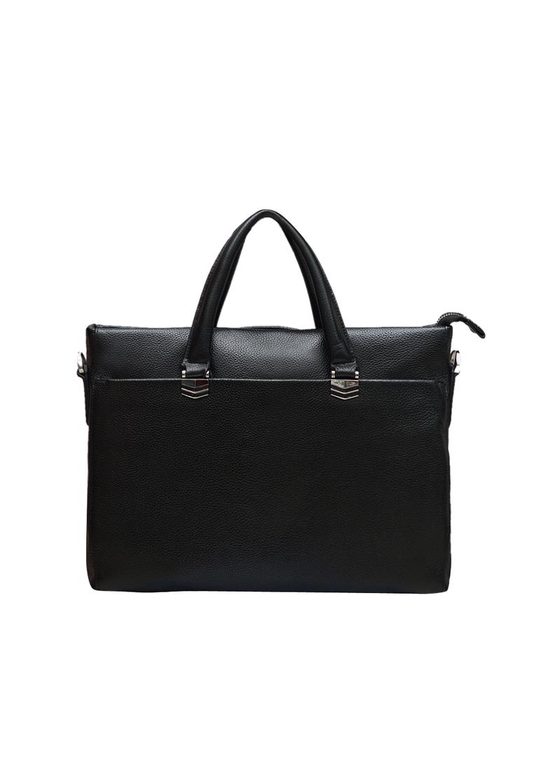 Túi xách tay nam ELMI da bò thật màu đen EB313