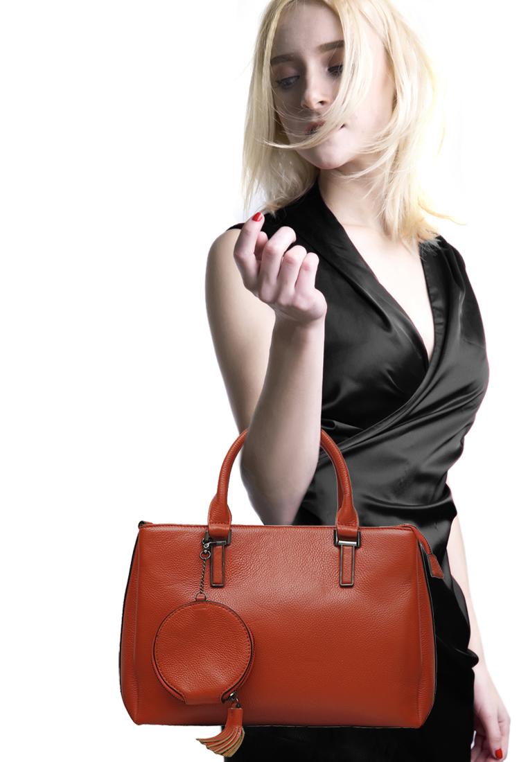 Túi xách tay nữ ELMI da bò thật cao cấp màu cam EB315