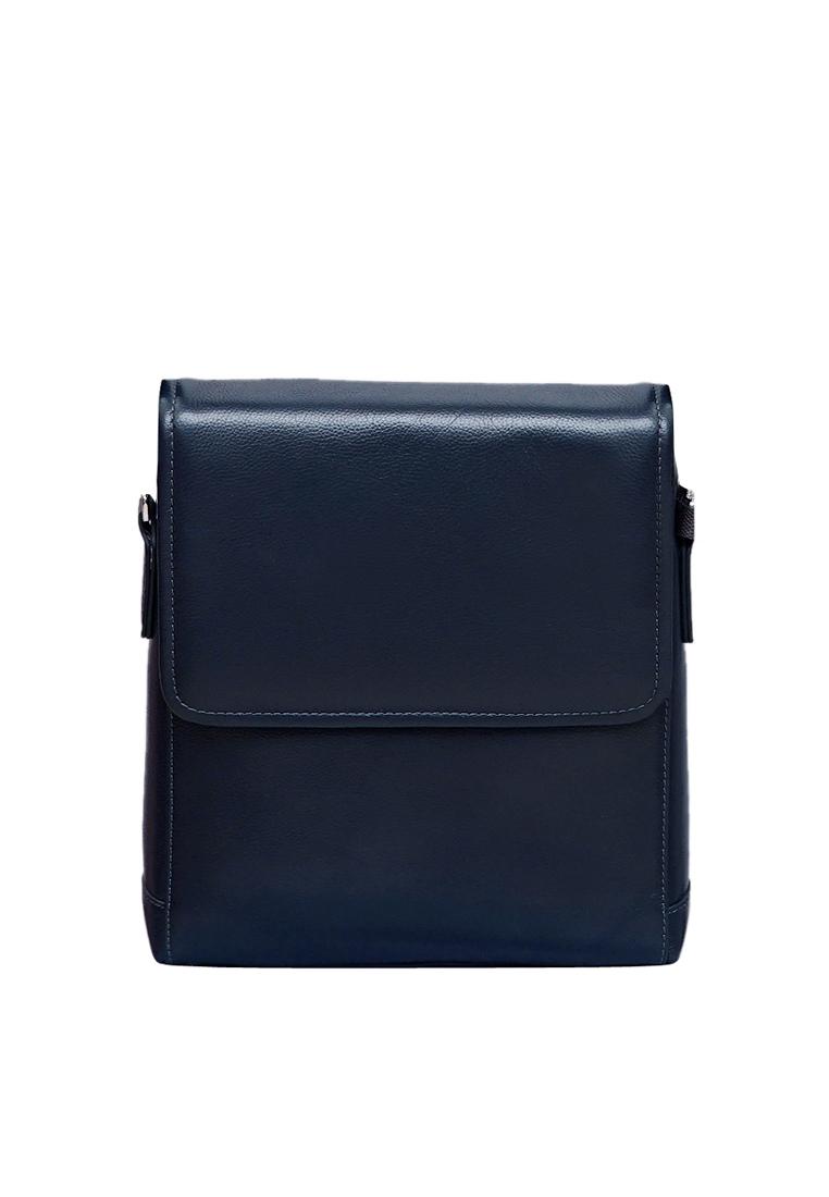 Túi đeo chéo nam ELMI da bò thật cao cấp màu xanh đen EB316