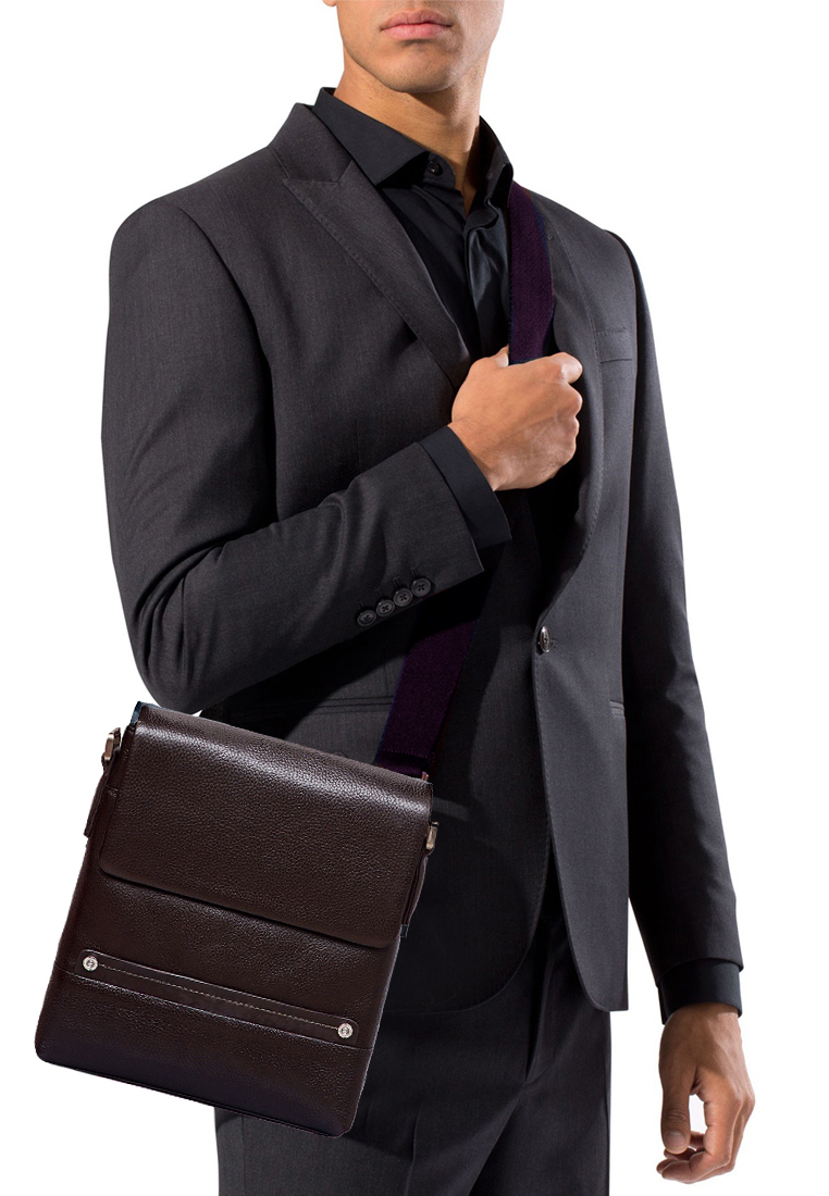Túi đeo chéo nam ELMI da bò thật cao cấp màu nâu EB317