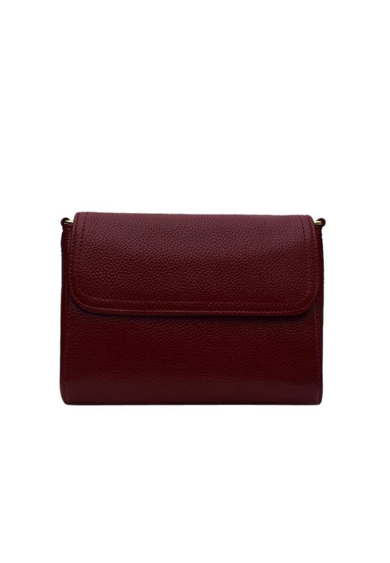 Túi đeo chéo nữ ELMI da bò cao cấp màu đỏ đô EB321