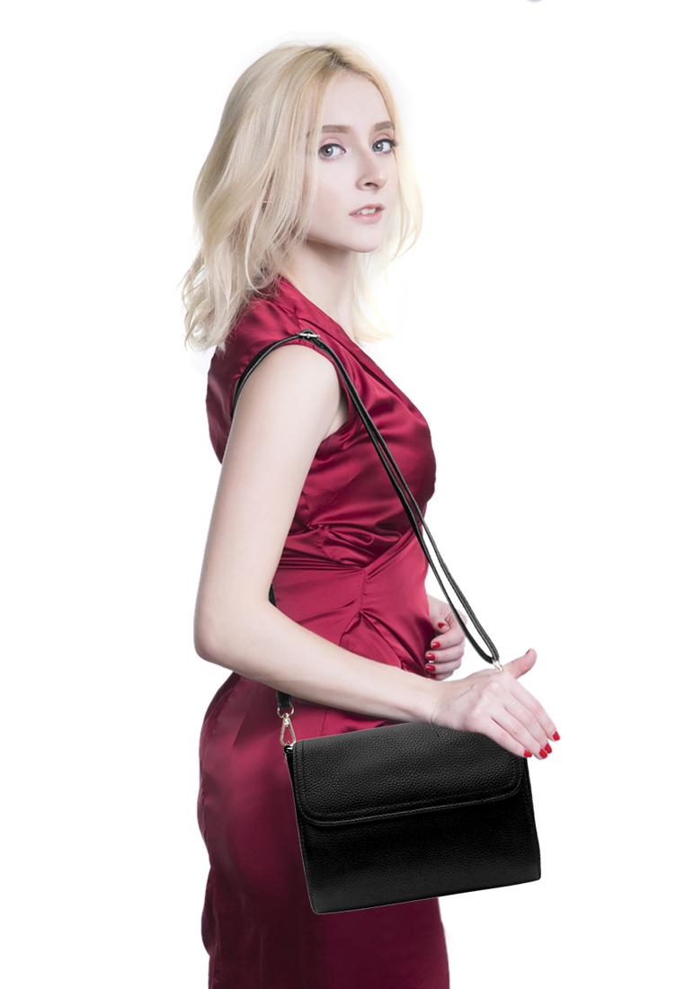 Túi đeo chéo nữ ELMI da bò cao cấp màu đen EB322
