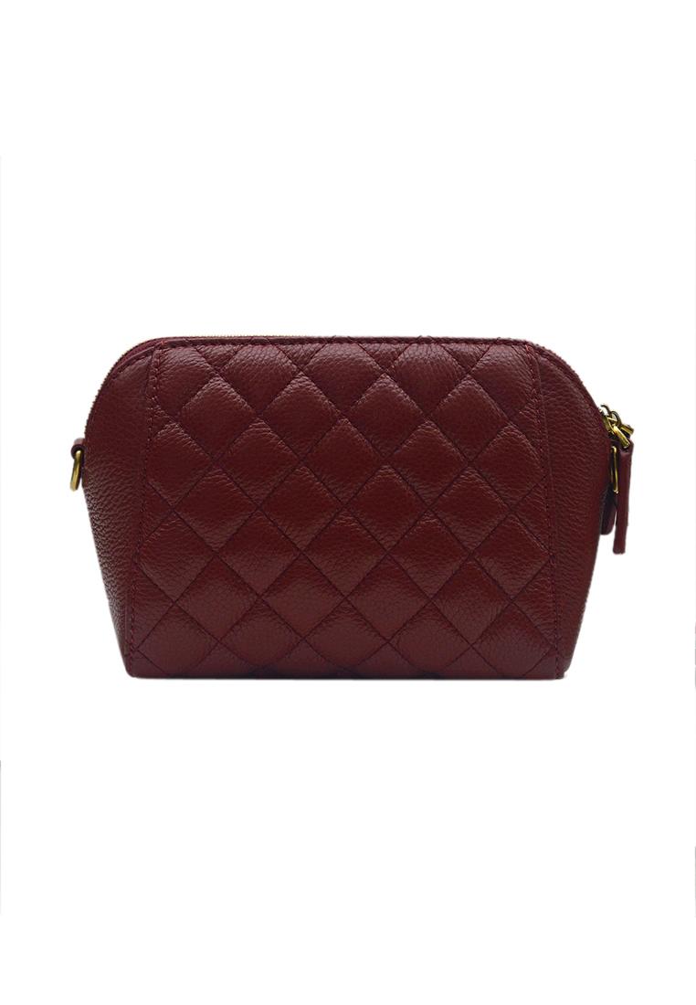 Túi đeo chéo nữ ELMI da bò cao cấp vân trám màu đỏ đô EB323