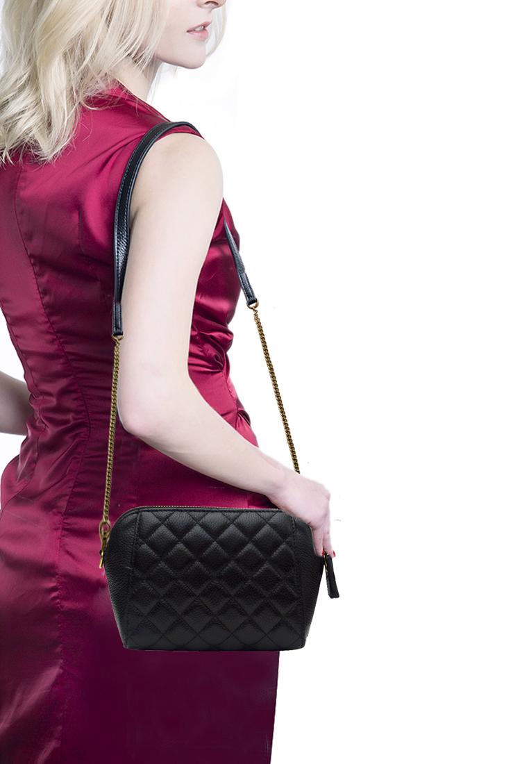 Túi đeo chéo nữ ELMI da bò cao cấp vân trám màu đen EB324