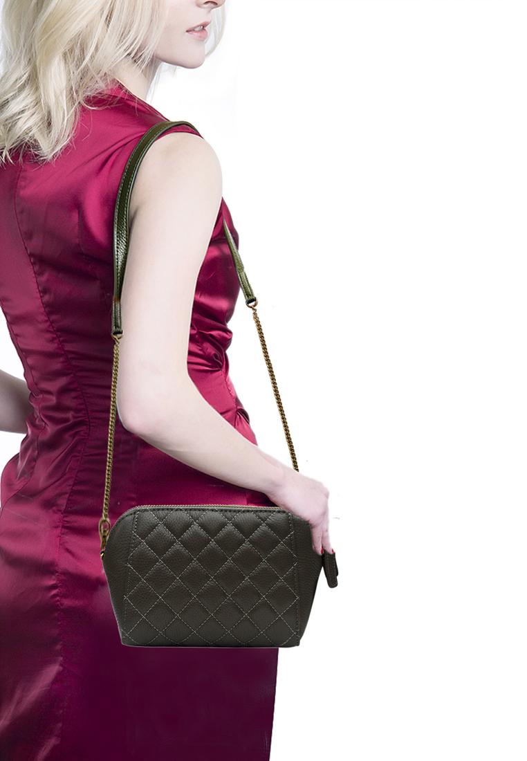 Túi đeo chéo nữ ELMI da bò cao cấp vân trám màu ghi đậm EB325