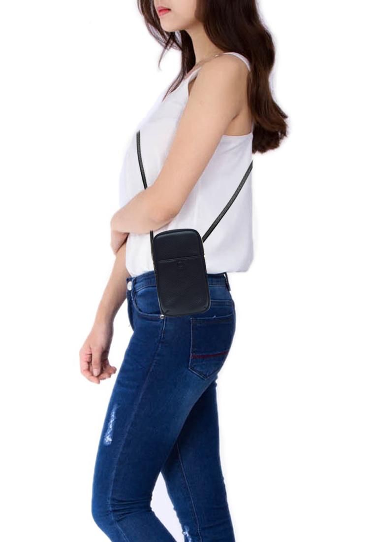 Túi đeo chéo nữ ELMI da bò cao cấp màu đen EB326