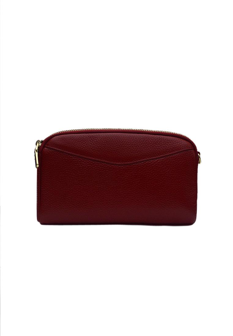 Túi đeo chéo nữ ELMI da bò cao cấp màu đỏ đô EB330