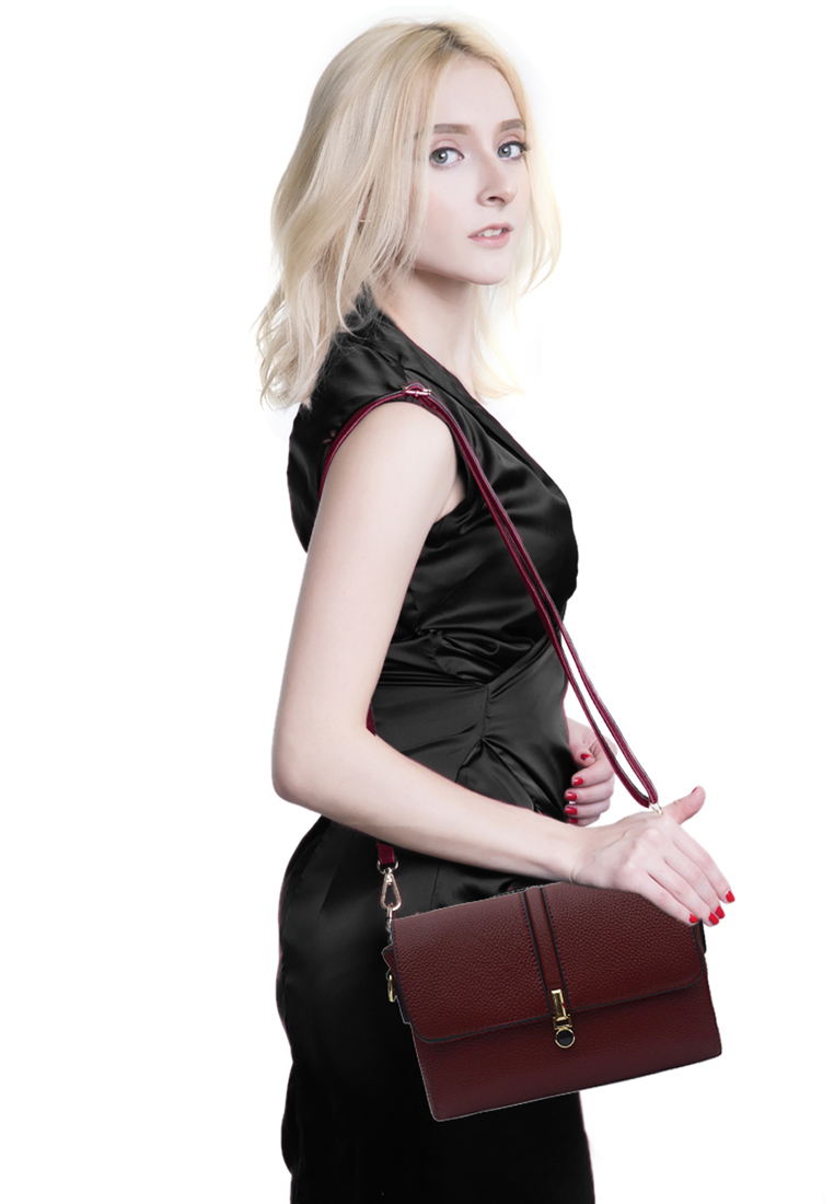 Túi đeo chéo nữ ELMI da bò cao cấp màu đỏ đô EB331