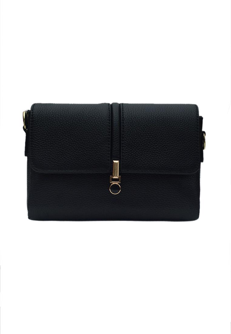 Túi đeo chéo nữ ELMI da bò cao cấp màu đen EB332