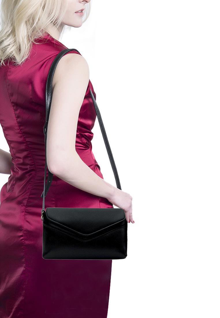Túi đeo chéo nữ ELMI da bò cao cấp màu đen EB333