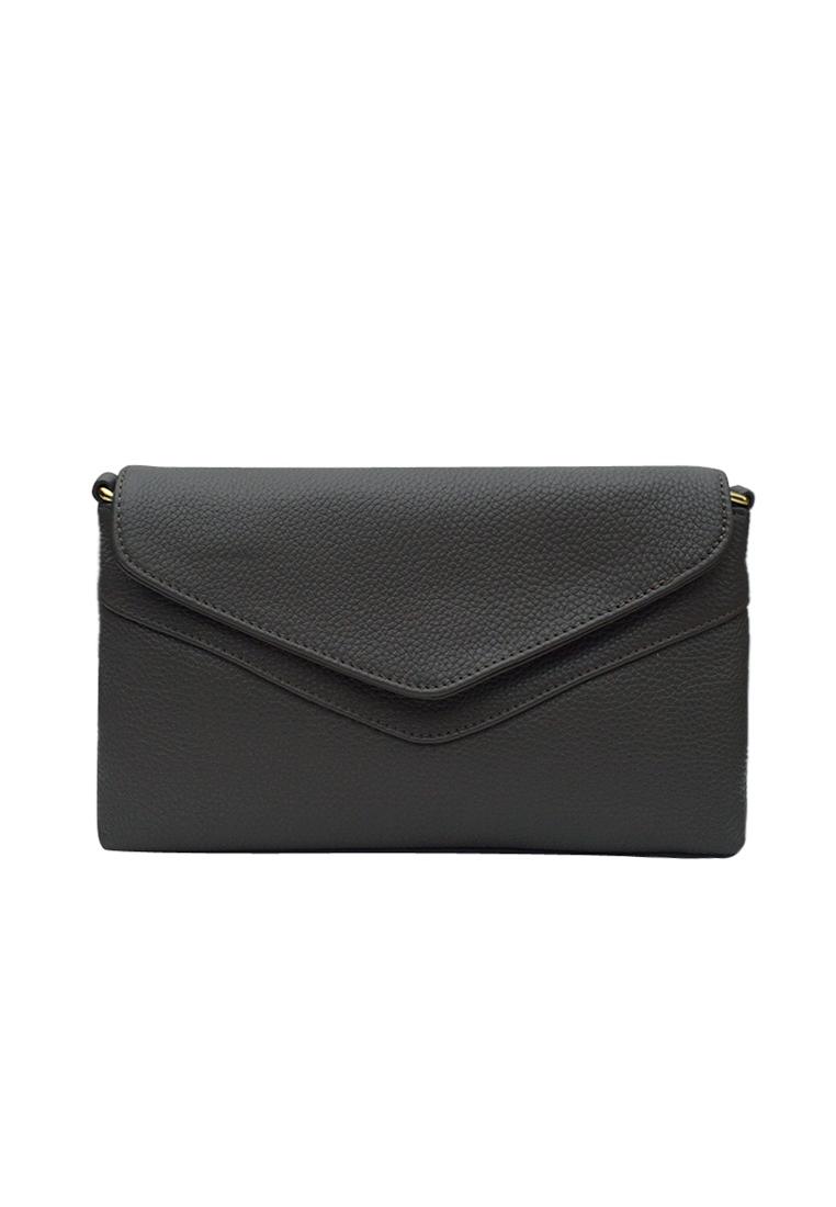 Túi đeo chéo nữ ELMI da bò cao cấp màu ghi EB334