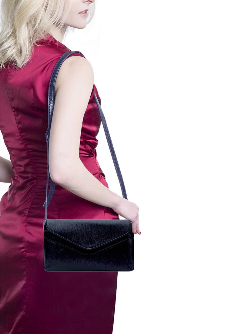 Túi đeo chéo nữ ELMI da bò cao cấp màu xanh đen EB335