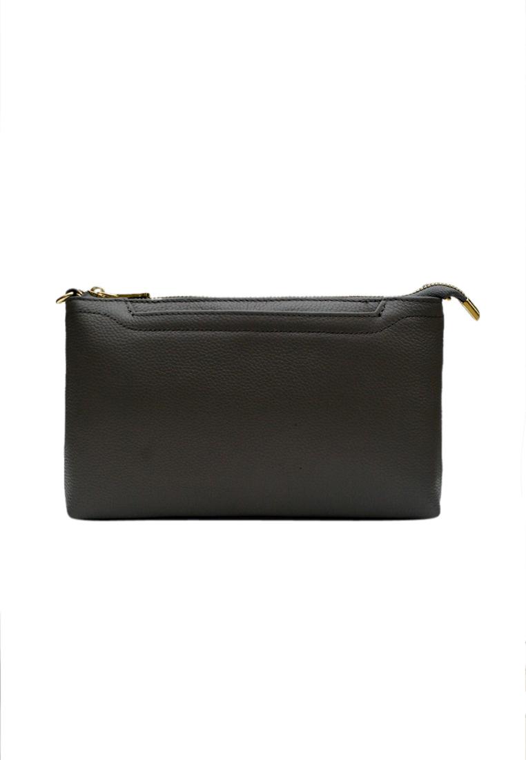 Túi đeo chéo nữ ELMI da bò cao cấp màu ghi EB338