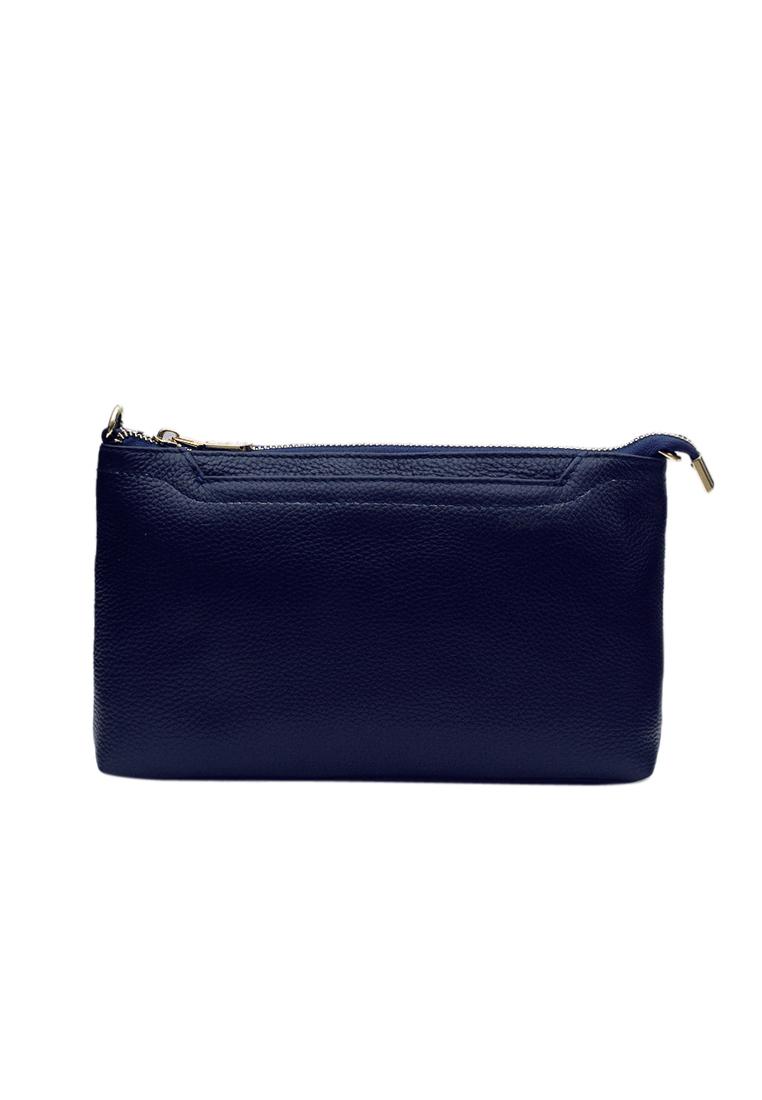 Túi đeo chéo nữ ELMI da bò cao cấp màu xanh đen EB339