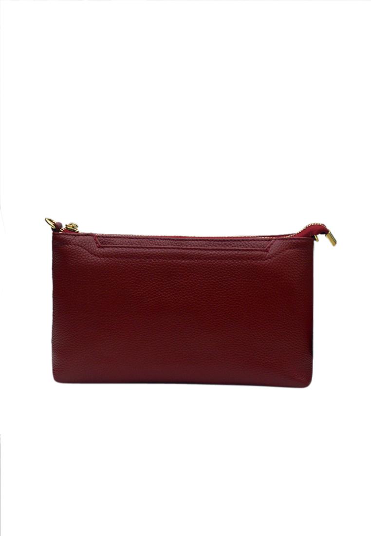 Túi đeo chéo nữ ELMI da bò cao cấp màu đỏ đô EB340