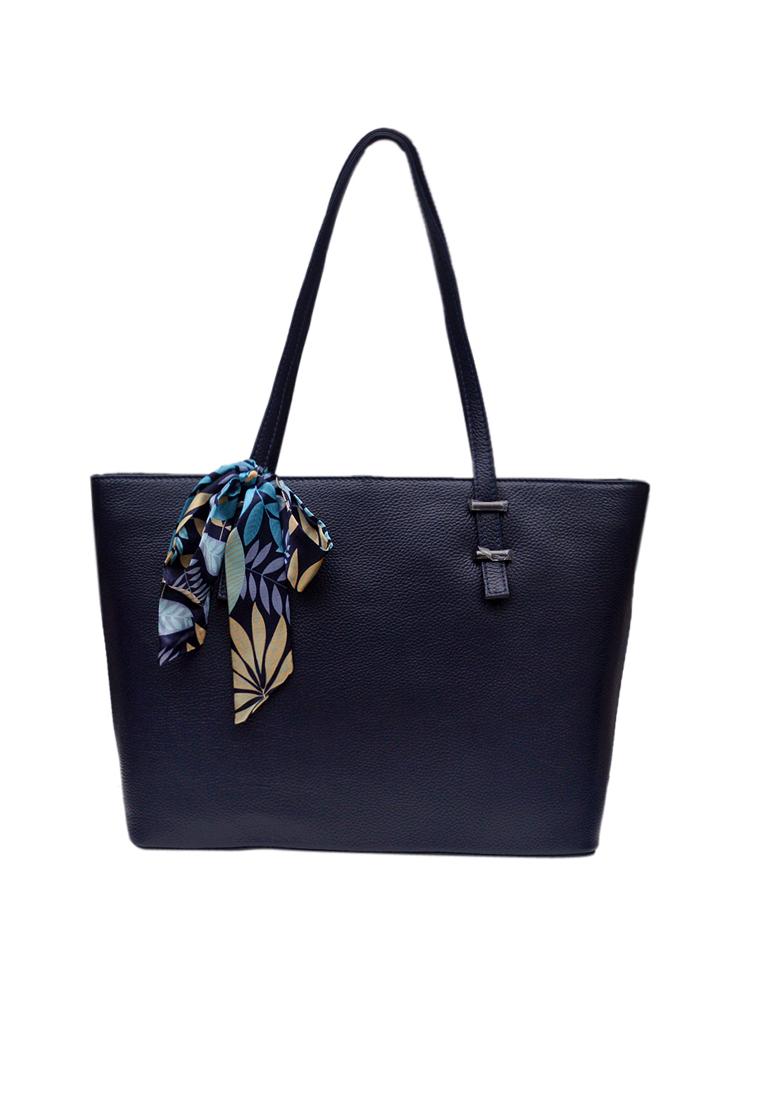 Túi tote nữ ELMI da bò thật cao cấp màu xanh đen EB342