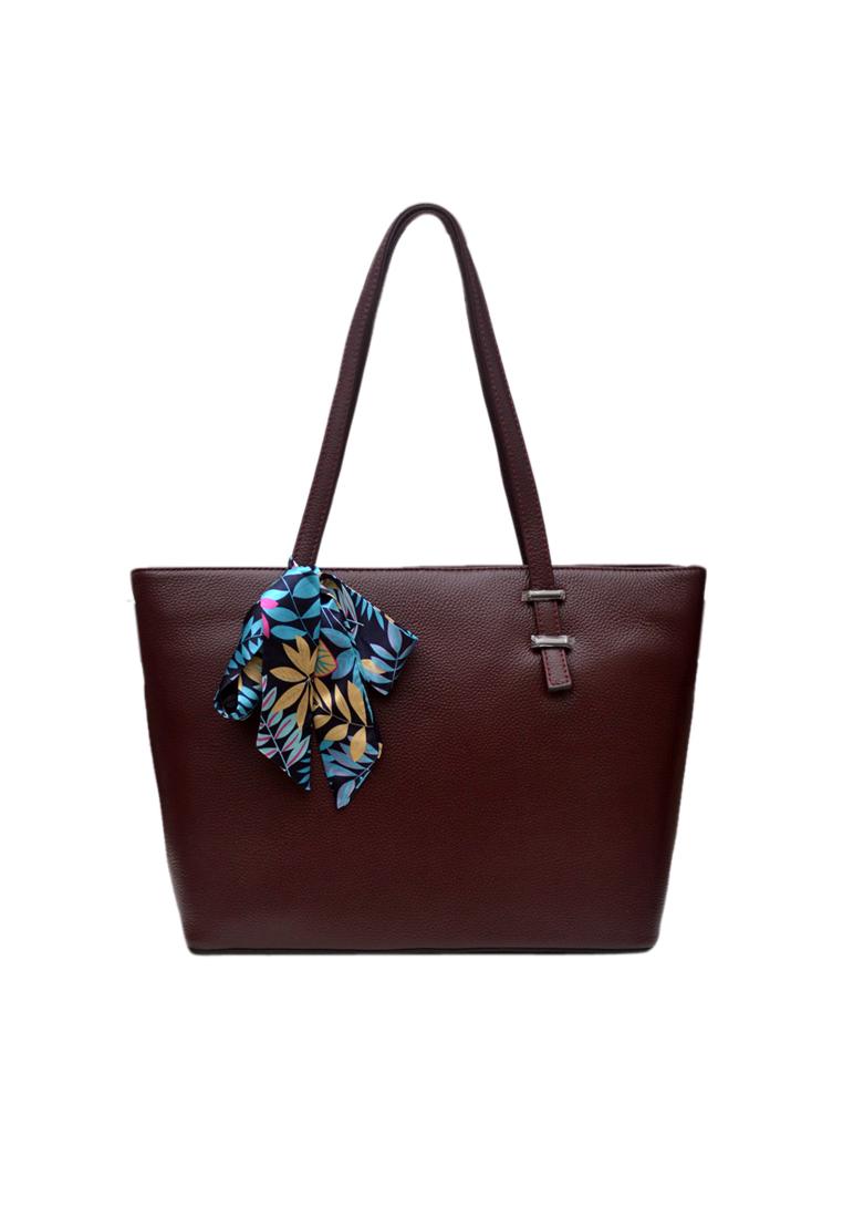 Túi tote nữ ELMI da bò thật cao cấp màu đỏ mận EB343