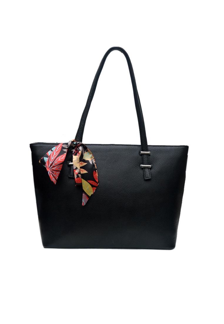 Túi tote nữ ELMI da bò thật cao cấp màu đen EB344