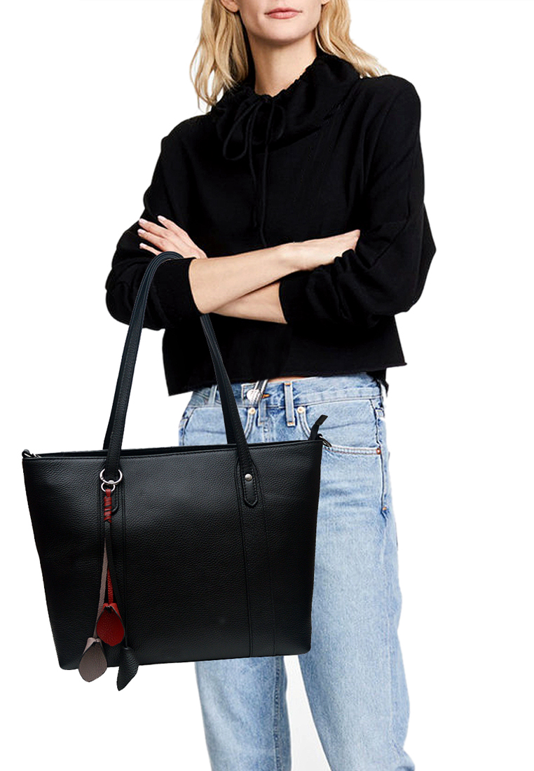 Túi tote nữ ELMI da bò thật cao cấp màu đen EB346