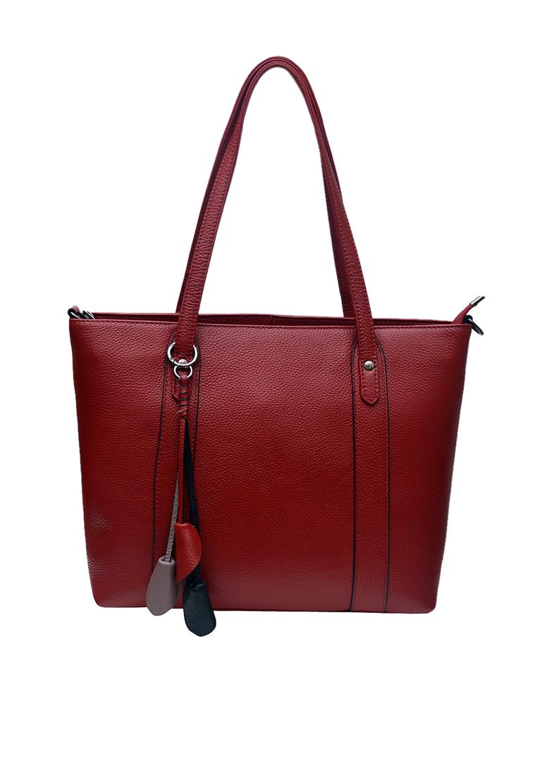 Túi tote nữ ELMI da bò thật cao cấp màu đỏ đô EB347