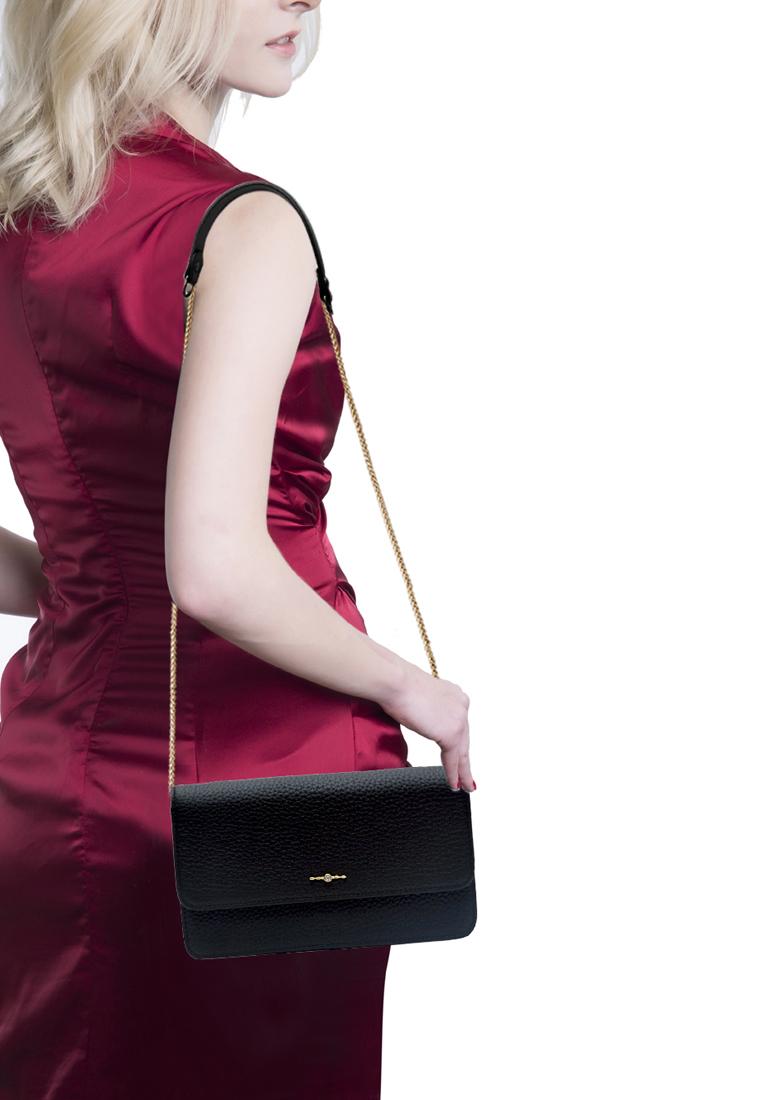 Túi đeo chéo nữ ELMI da bò thật cao cấp màu đen EB348