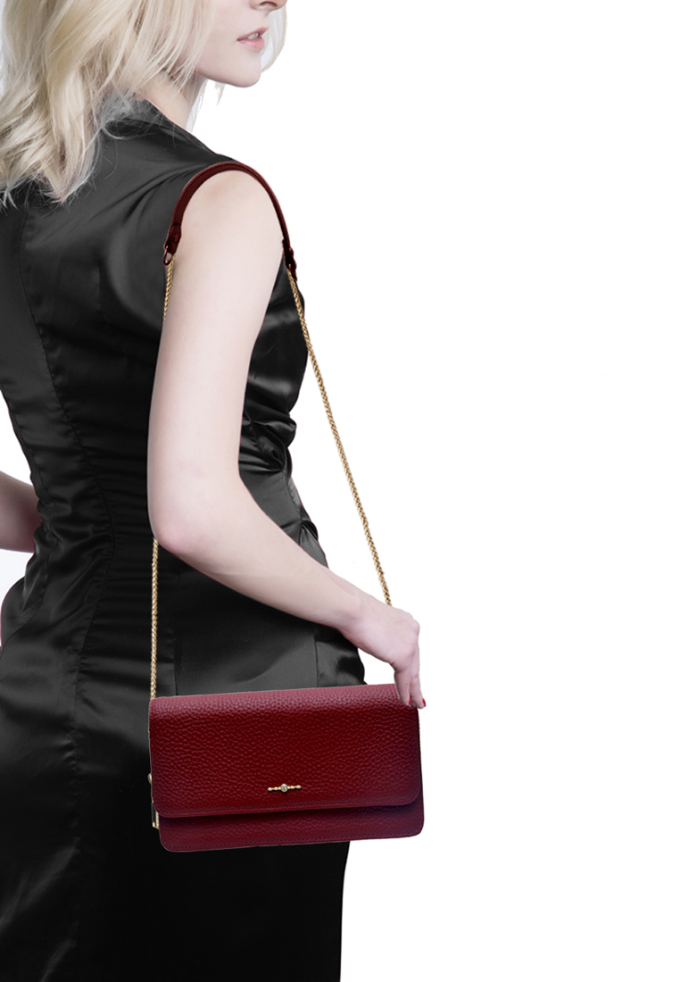 Túi đeo chéo nữ ELMI da bò thật cao cấp màu đỏ đô EB349