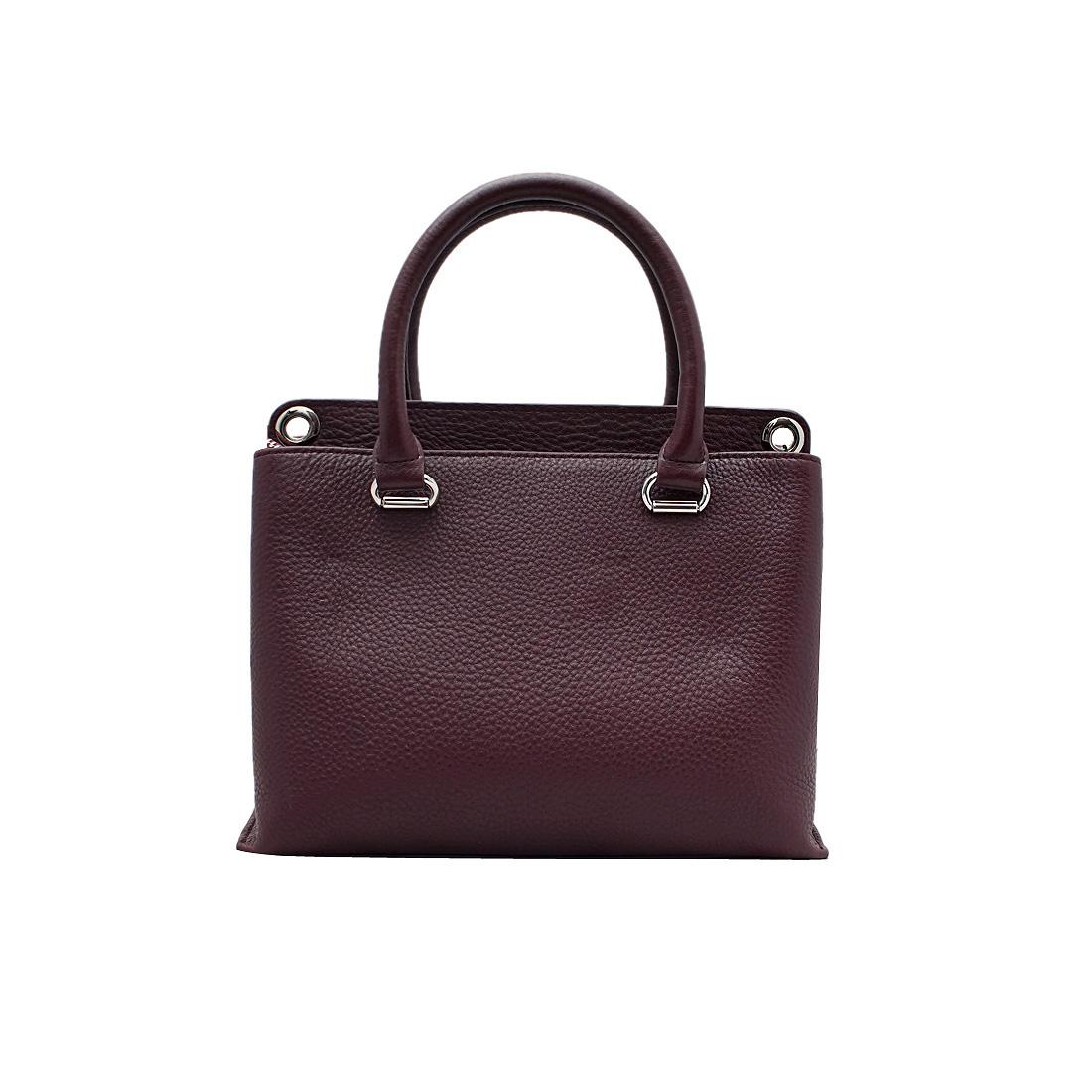 Túi xách tay nữ ELMI da bò thật cao cấp màu đỏ đậm EB68