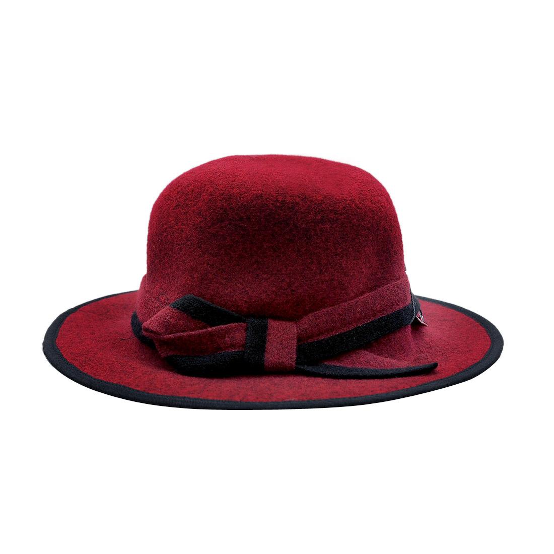 Mũ vành dạ nữ thời trang cao cấp màu đỏ đô EH39-3