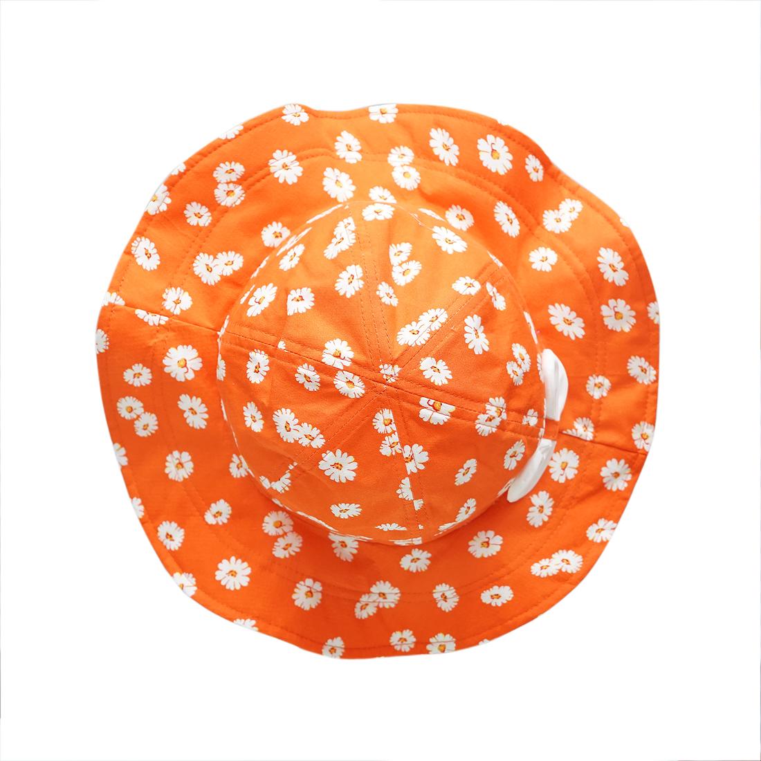 Mũ trẻ em vành rộng hoa nhí màu cam EM03