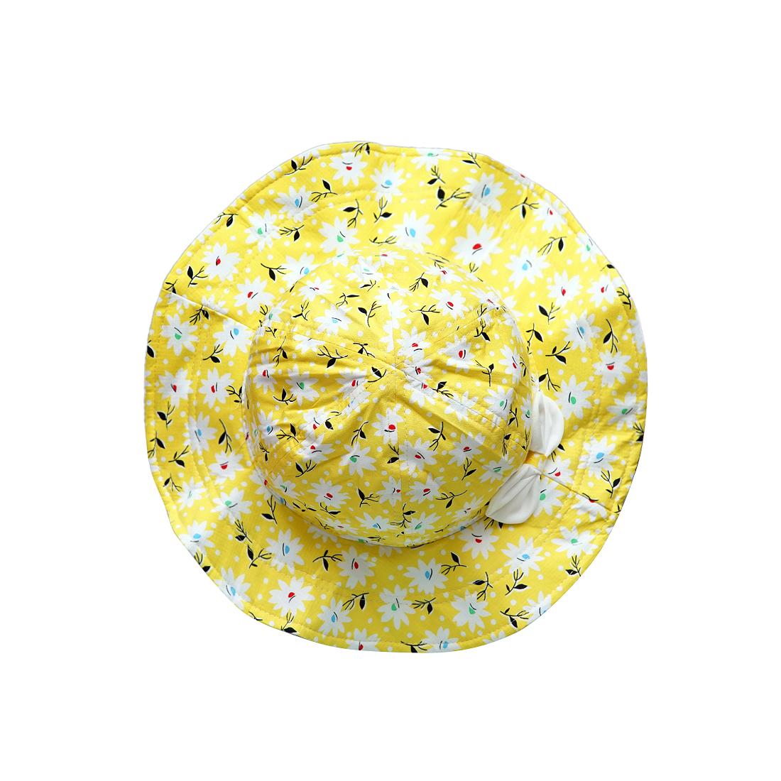 Mũ trẻ em vành rộng hoa nhí màu vàng EM04