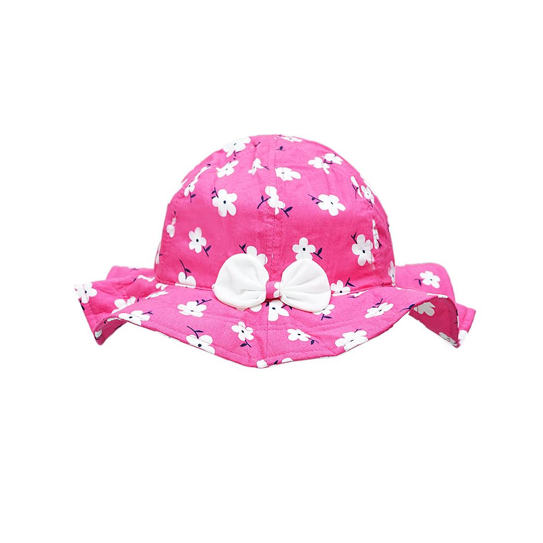 Mũ trẻ em vành rộng hoa nhí màu hồng EM06