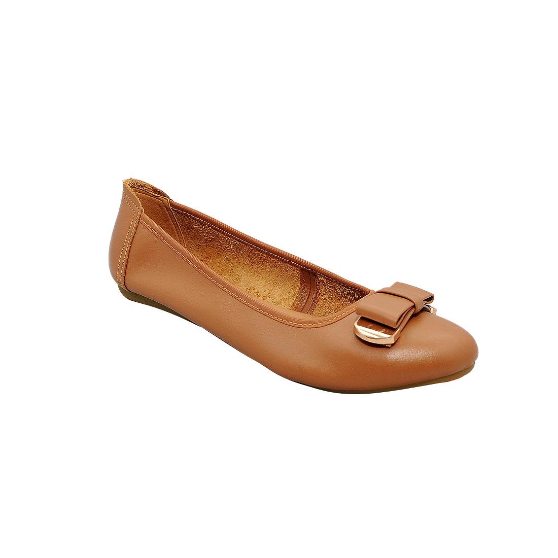 Giày bệt nữ da bò thật cao cấp màu nâu bò ESW195