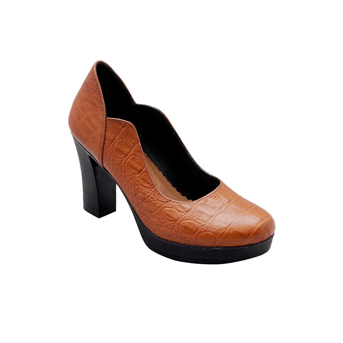 Giày nữ đế xuồng da bò thật cao cấp màu nâu ESW266