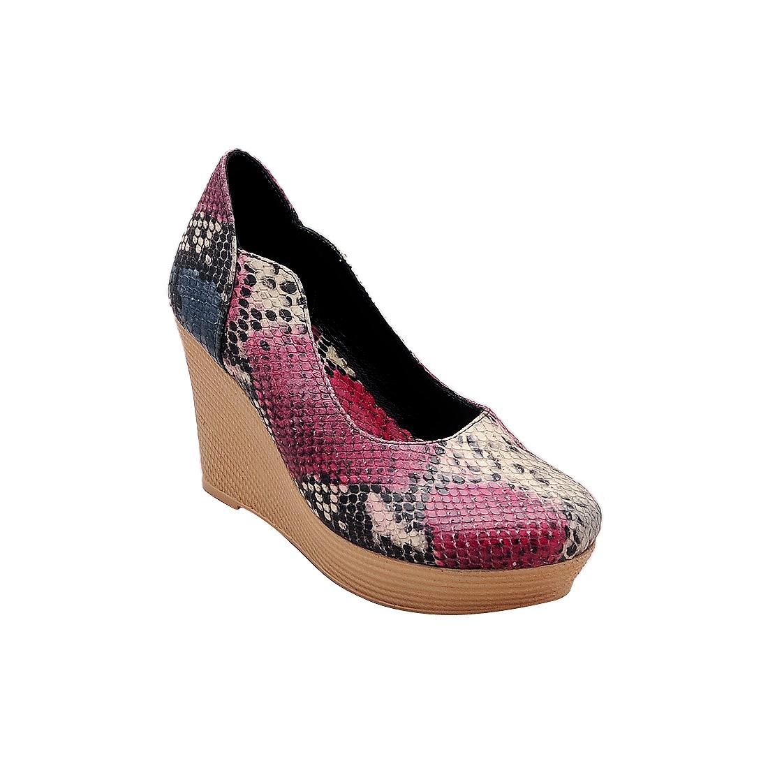 Giày nữ đế xuồng da bò thật cao cấp màu hồng rắn