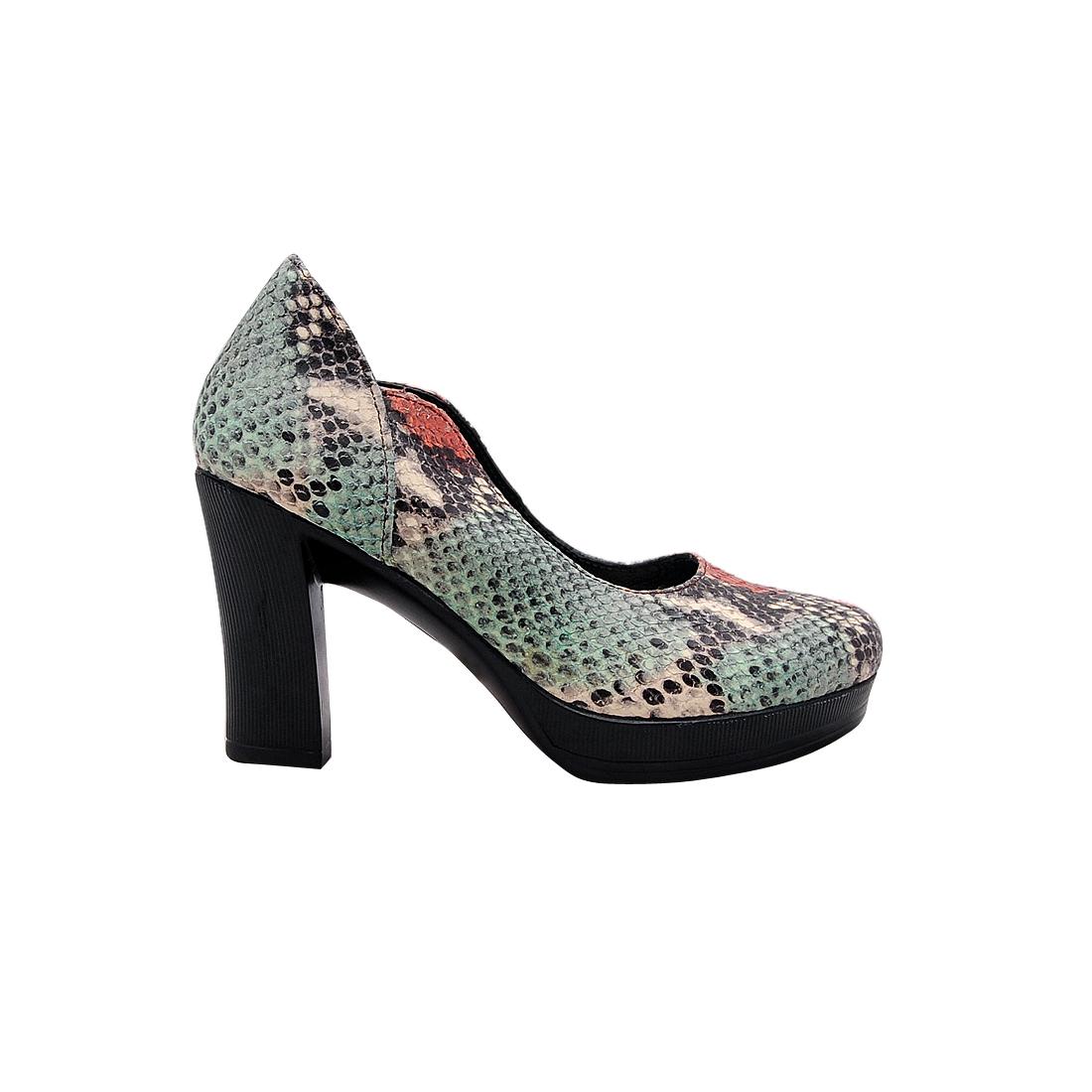 Giày nữ đế xuồng da bò thật cao cấp màu xanh rắn ESW269