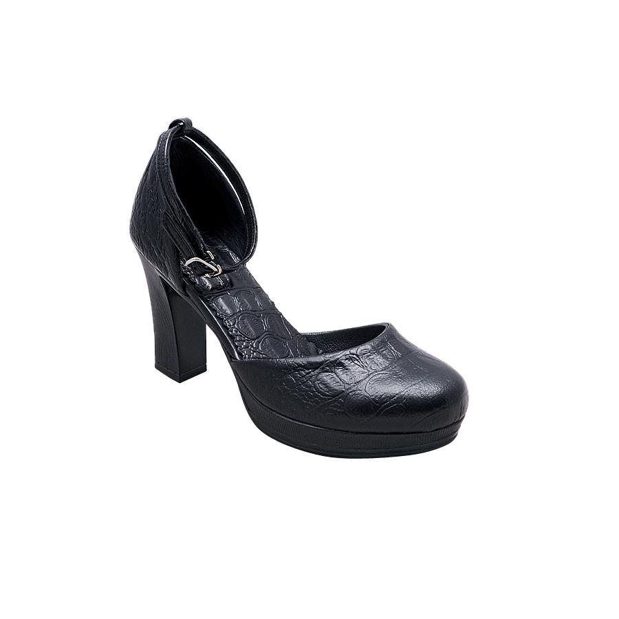Giày Nữ Cao Gót 9cm Da Bò Thật Cao Cấp Màu Đen  - ESW272