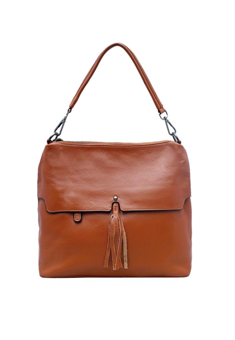 Túi xách tay nữ  da bò thật cao cấp màu vàng bò ELMI ET960