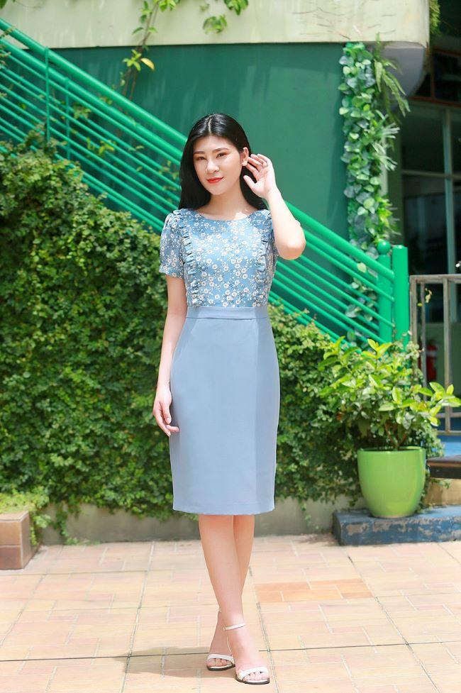 Váy công sở phối hoa nhí thời trang màu xanh da trời EV06