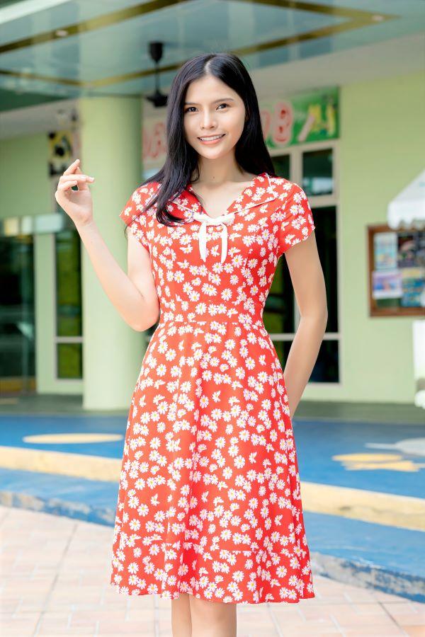 Váy công sở ELMI cao cấp hoa nhí màu đỏ EV08