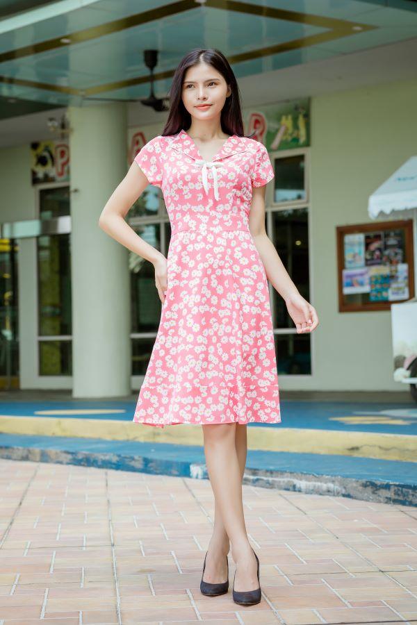 Váy công sở ELMI cao cấp hoa nhí màu hồng đậm EV10