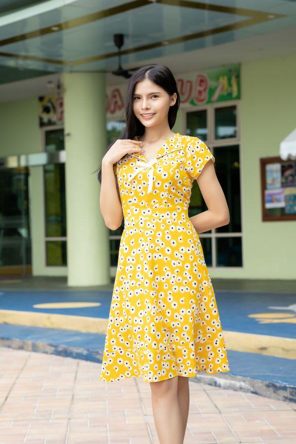 Váy công sở ELMI cao cấp hoa nhí màu vàng EV11